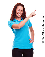 Young woman in polo shirt showing empty copyspace