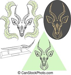 Antelope - Set of monochrome, head of an antelope in 3...