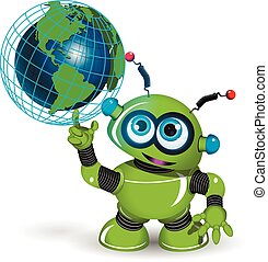 Robot and globe - Illustration of a green robot and globe