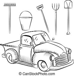 Pickup - Retro car pickup and farm tools painted in the...