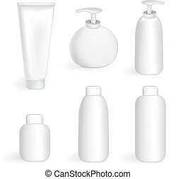 Set tube and jars - Set of jars, tubes and bottles in the...