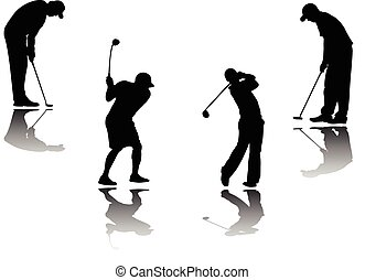 golf player with shadow and background