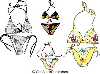 bikini collection - vector - illustration of bikini - vector