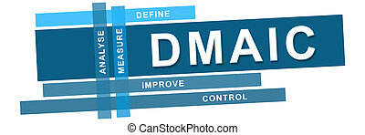 DMAIC Blue Stripes Horizontal - DMAIC concept image with...