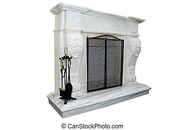 White fireplace - White marble fireplace with accessory