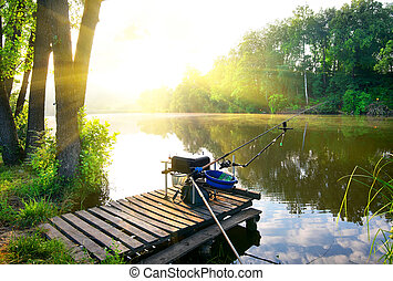 Fishing on river - Fishing on a calm river in the morning