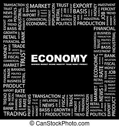 ECONOMY. Background concept wordcloud illustration. Print...