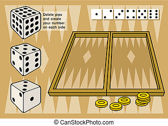 Backgammon with dices vector - A game of backgammon. Create...