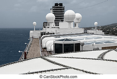 View of the satellite system on top of a  cruise ship