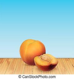 Nectarine on wood. Background with nectarine. Summer fruit....