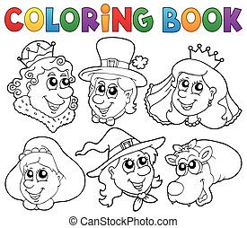 Coloring book fairy tale portraits - eps10 vector...