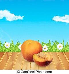 Nectarine on wood. Background with nectarine. Background...