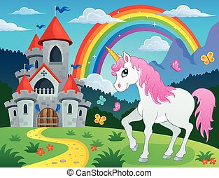Fairy tale unicorn theme image 4 - eps10 vector illustration...