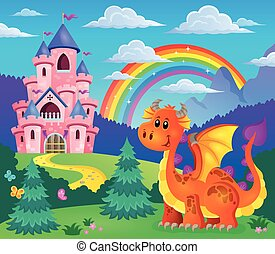Image with happy dragon theme 7 - eps10 vector illustration.