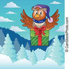 Owl with gift theme image 3 - eps10 vector illustration.
