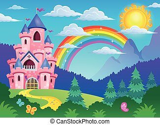 Pink castle theme image 4 - eps10 vector illustration