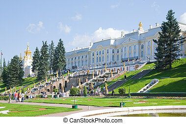 Royal Petrodvorets at Peterhof in summer, Russia