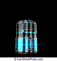 sci fi military barrel neon light on black background - high...
