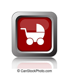 Baby carriage icon. Internet button on white background