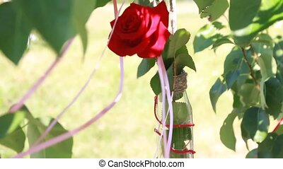 decorations of roses in a bottle on the tree
