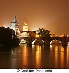 Prague at night Czech Republic