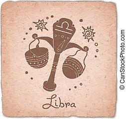 Libra zodiac sign horoscope vintage card. Vector...