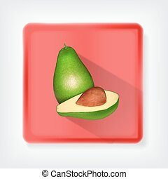 Avocado. Icon with long shadow. EPS10 vector