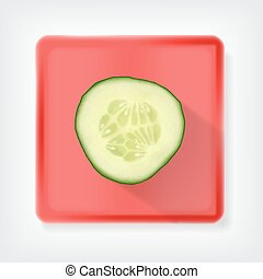 Cucumber. Icon with long shadow. EPS10 vector