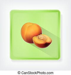 Nectarine. Icon with long shadow. EPS10 vector
