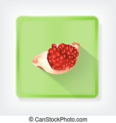 Pomegranate Icon with long shadow EPS10 vector