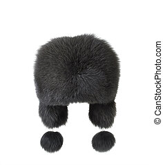 wooman earflaps fur cap winter on white background