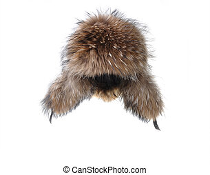 earflaps fur cap winter one on white background
