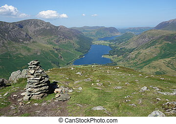 Buttermere and Crummock Water from Fleetwith Pike with cairn...