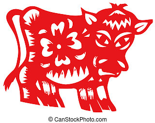 Chinese zodiac of ox - Chinese traditional paper-cut,chinese...