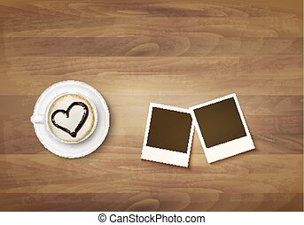 Coffee mug with a heart on a desk and two photos. Vector.