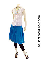Mannequin with Casual Clothing isolated with clipping path...