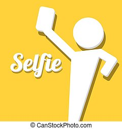 Taking Selfie Photo on Smart Phone concept icon vector...