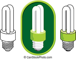 Fluorescent light bulb vector - Illustration of a compact...