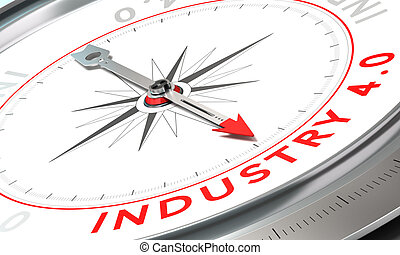 Industry 40 - Compass with needle pointing the word industry...