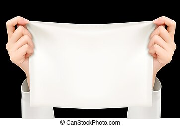 Two Hands Holding White Poster (Sample Text). Vector.
