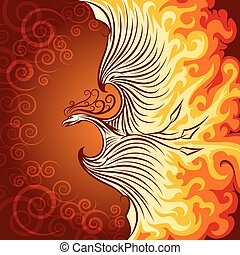 Fire Phoenix - Decorative illustration of flying phoenix...
