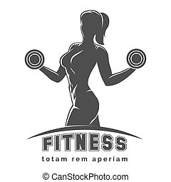Fitness Club Emblem - Fitness club logo or emblem with woman...