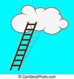 Stairway to the cloud. Sky and step, climb and ladder, way...