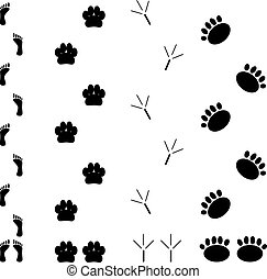 Foot print set. Step silhouette animal, track and trace,...