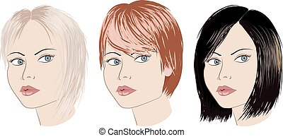 Three girls with different haircut. Blonde brunette redhead