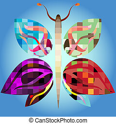 mosaic butterfly - a vector illustration of a big mosaic...