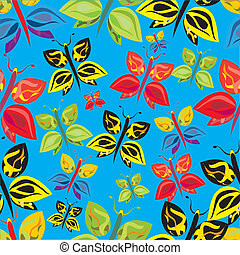 colorful butterflies seamless pattern - a vector seamless...