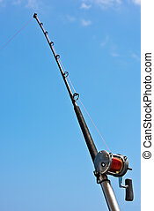 Fishing rod and reel on a yacht - Fishing rod and reel on a...