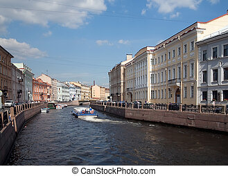 View of St Petersburg, Russia Seafront of Fontanka river