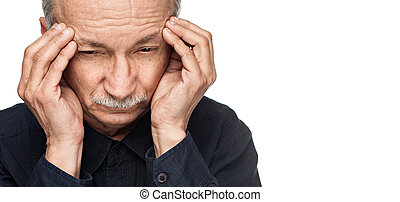 Old man suffering from a headache isolated on white...